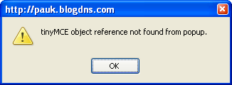 tinyMCE object reference not found from popup.